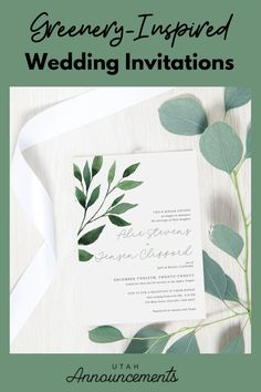This greenery-inspired wedding invitation will surely complete your greenery wedding. With a simple typography to highlight the names of the couple, this design is more elegant than ever. Ogden Temple, Burlap Wedding Invitations, Rustic Wedding Inspiration, Wedding Announcements, Highlight, Utah, Greenery, Reception, Typography