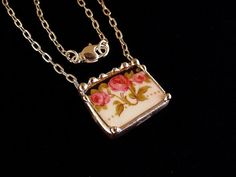 Art Nouveau roses broken china jewelry necklace pink rose trio made from a broken china plate via Etsy