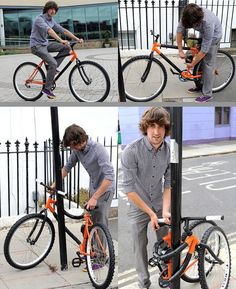 Self Locking Flexible Bike, a bendable frame that allow the bicycle to be wrapped around a lamp post. #bike, #lock