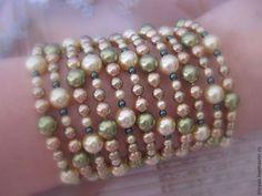 Браслет0215 - браслет,жемчужный браслет,Сваровски,зелёный браслет,бронза