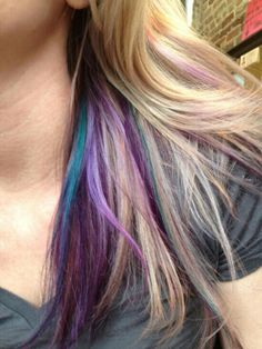 64 trendy hair color purple streaks blondes - All For Hair Color Balayage Highlights Underneath Hair, Hair Color Underneath, Colored Highlights, Purple Peekaboo Highlights, Purple Highlights Blonde Hair, Peekaboo Color, Peak A Boo Highlights, Blonde Hair With Color, Hair Colors