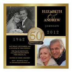 Custom 50th Anniversary Square Poster - (2 photos)...cute idea for mom and dad next year!