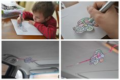 10 Ways to Keep Kids Happy in the Car -this being my favorite: color a car and put slits in it and string it.  Mark on the string every hour until you reach your destination.  This gives the kids a visual on how much longer.