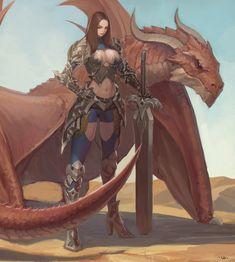 "art-of-cg-girls: ""Dragon warrior by Sung Uk Kim "" Fantasy Fighter, Fantasy Armor, Dragon Warrior, Female Dragon, Character Inspiration, Character Art, Character Design, World Of Warcraft, Fantasy Characters"