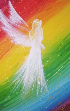 Limited angel art photo, rainbow modern angel painting, artwork, ideal also for picture frame.