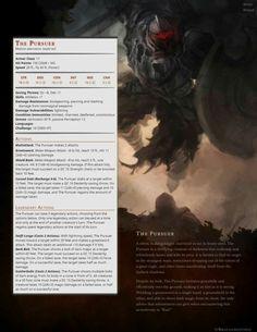 The Pursuer: CR 10 Dnd Dragons, Dungeons And Dragons 5e, Dungeons And Dragons Characters, Dungeons And Dragons Homebrew, Dnd Characters, Ornstein Dark Souls, Larp, Dnd Stats, Dnd 5e Homebrew
