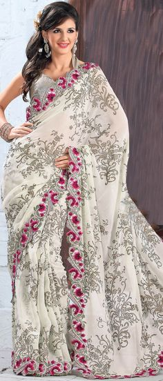 Cream Faux Georgette #Sarei  Don't know where I would wear it...but it makes my knees weak.