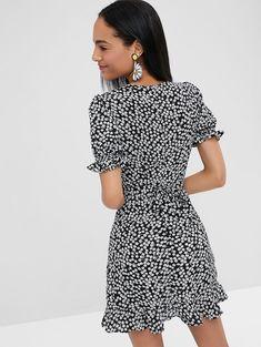 10d111f1b058 [HOT] 2018 Floral Print Mini Wrap Tea Dress In BLACK S | ZAFUL Vintage