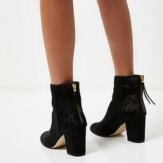 Black velvet block heel ankle boots - boots - shoes / boots - women