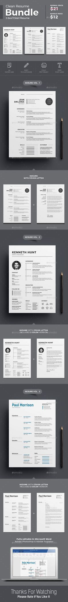 Resume Template PSD, Vector EPS, AI Illustrator, MS Word Resume - illustrator resume