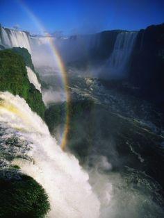 Rainbow Arching into Iguazu Waterfalls