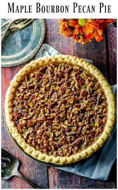 Sweet gooey and delicious vegan pecan pie with maple syrup and flavored with a hint of bourbon #Vegan #pecan #pie #thanksgiving #Holidays #recipe #bourbon Vegan Dessert Recipes, Delicious Vegan Recipes, Pie Recipes, Fall Recipes, Cooking Recipes, Kosher Recipes, No Bake Desserts, Easy Desserts, Holiday Recipes