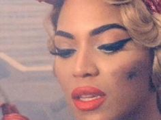 """(Video still) I love this look of Beyonce with the classic cat eye vintage makeup look from her video, """"Why Don't You Love Me?"""""""