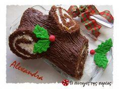 Χριστουγεννιάτικος κορμός έκπληξη Christmas Sweets, Christmas Goodies, Christmas Baking, Christmas Cakes, Greek Sweets, Greek Recipes, Holiday Recipes, Christmas Recipes, Cake Cookies