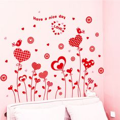 [SHIJUEHEZI] Red Love Flower Balloon Festival Wall Stickers for Kids Rooms Living Room Interior Decoration adesivo de parede,High Quality sticker for kids room,China wall stickers for kids Suppliers, Cheap wall sticker from Jiaxing Wall Decor Store China Wall, Cheap Wall Stickers, Balloon Flowers, Lany, Plant Wall, Love Flowers, Living Room Interior, Balloons, Interior Decorating
