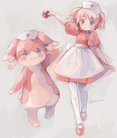 Cross over between Madoka Magica and Pokemon ♡ Cute Madoka dress as a nurse of the pokemon centre with a cuddle Audino! :3