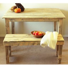 Reclaimed Wood Farmhouse Table & Bench