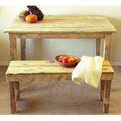 Reclaimed Wood Farmhouse Table & Bench