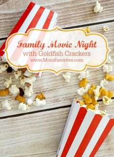 Family movie night gets super tasty with these Goldfish Popcorn mixes including: Cheesy Garlic Popcorn and Sweet and Savory Maple Popcorn.  Your kids will be over the moon with these fun recipes!