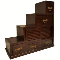"""Reversible Step Chest Korean Style Cabinet with Asian Hardware H - Oriental Furnishings: Furniture & Décor """"wooden tansu"""" - April 20 2019 at Painting Wooden Furniture, Painted Bedroom Furniture, Apartment Furniture, Ikea Furniture, Repurposed Furniture, Rustic Furniture, Furniture Makeover, Vintage Furniture, Furniture Decor"""