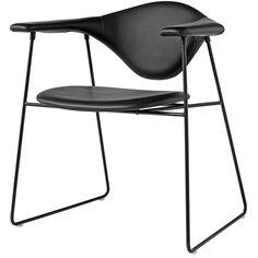 Gubi Masculo Chair, upholstered black lea   DesignShopDenmark.com
