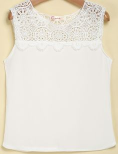 White Sleeveless Contrast Lace Chiffon Top pictures