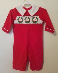 9-Months-Mom-amp-Me-Red-Santa-Smocked-XMAS-Red-Corduroy-Longall-One-Piece-Romper