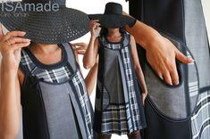 Mode : Le Gris est chic ! Robe Trapèze à Patch Tartan écossais Noir Blanc et gris, Prince de Galles automne