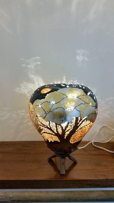 '2 Shining Trees' organic gourd art table light photo 1