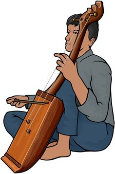 タラワンサを演奏する男性の図 / タラワンサは、インドネシア(Jawa)の弓奏楽器。