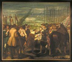 'De overgave van Breda'. Dit schilderij, waarvan het origineel is gemaakt door Diego Velázquez (1599-1660), beeldt de overgave van Breda in 1625 uit. Justinus van Nassau overhandigt de sleutel van de stad aan Spinola, de aanvoerder van de Spaanse troepen. De bijnaam van het schilderij is 'Las Lanzas', bekender dan de officiële titel, en verwijst naar de vele lansen op de achtergrond. Velázquez is nooit in Breda geweest. Hij maakte het schilderij in 1634/1635.