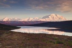 Alpenglow on Denali (Mt. McKinley) and the Alaska Range with Wonder Lake (Blue) in foreground in Denali National Park and Preserve, Interior Alaska Poster Print (38 x 24)