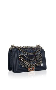 Chanel Limited Edition Navy Blue Dechained Boy Flap Bag by Madison Avenue Couture for Preorder on Moda Operandi