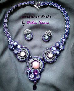 soutache set with pink cuartz, by Delia Soare