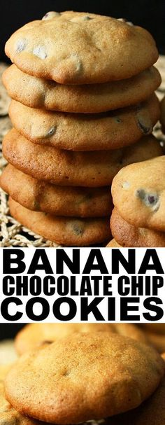 Easy BANANA CHOCOLATE CHIP COOKIES recipe, requiring simple ingredients, ripe bananas and lots of chocolate. These banana cookies are soft, moist with a cake like texture. From cakewhiz.com