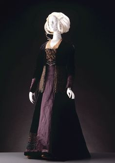 Victorian velvet and brocade tea gown with sateen panel down back and front of skirt; bead and lace trimmings, c. 1885-95