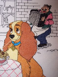 Disney Lady and the Tramp Cross Stitch by SandysCorner on Etsy