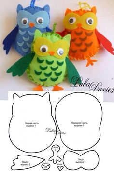 buhos - Make It: Felt Owls – Templates (self explanatory, no link) - Felt Owls, Felt Birds, Owl Crafts, Crafts To Do, Felt Christmas, Christmas Crafts, Fabric Crafts, Sewing Crafts, Craft Projects