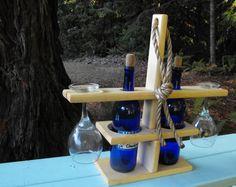 Wine Bottle and Glass Holder. van RedwoodDecor op Etsy