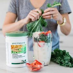 Nutrilite all plant proteins is a nutritious way to start the day. Nutrilite Vitamins, Artistry Amway, Kale Powder, Organic Vitamins, Plant Based Protein, Eat Smart, Clean Recipes, Quick Meals, Healthy Cooking