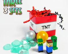 Lego Minecraft Inspired Birthday Party Favors (3) Gift Boxes/Bags With Jewel Candy Gold Ore Gumballs and Minifigure Toys