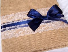 WEDDING GUEST BOOK with Photo Spot - Burlap, Navy Blue and Ivory, Bow Style, Custom colors available. $45.00, via Etsy.