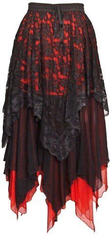 Dark Star Gothic Zig-Zag Hem Lace Net Layered Skirt DS/SK/5429 Womens Halloween Samhain Solstice Witch Fairy Festival Steampunk Goth