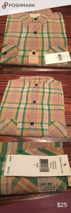 Denim & Supply Ralph Lauren Long Sleeve Flannel L Brand New. Ralph Lauren Denim & Supply Long Sleeve Flannel Shirt. Color: Tan/Yellow/Green. Size: Large. Shirt is 100% cotton. Denim & Supply Ralph Lauren Shirts Casual Button Down Shirts