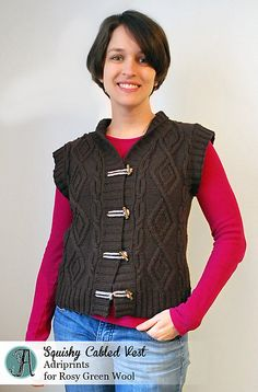 Ravelry: Squishy Cabled Vest pattern by Adriana Hernandez