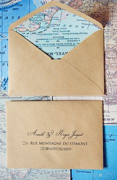 Travel theme wedding save the date Printing the envelops really makes the stationary look classy