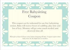 baby sitting coupon template free printable pdf documents gift certificate valentine templates