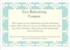 Printable Babysitting Coupons - Free Baby Sitting Voucher ...