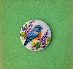 Bluebird Hand Embroidered Studio Button Needle by TinyPaintings