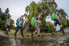 Team Kathmandu XT trekking into Mt Gladstone Station transition. Left to right Duncan Hamilton, Kate Callaghan, Neil Jones, George Christensen. During Godzone 2014 Kaikoura.